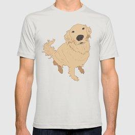 Golden Retriever Love Dog Illustrated Print T-shirt