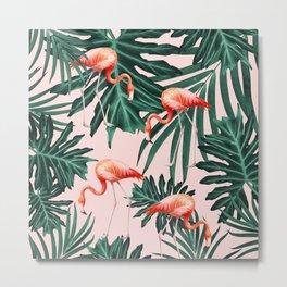 Summer Flamingo Jungle Vibes #1 #tropical #decor #art #society6 Metal Print