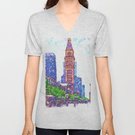 D&F Tower In Pointillism On The Mall Unisex V-Neck