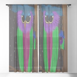 The Prismatic Crested Owl Sheer Curtain