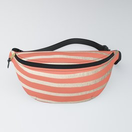 Simply Drawn Stripes in White Gold Sands on Deep Coral Fanny Pack
