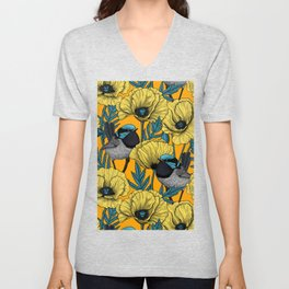 Fairy wren and poppies in yellow Unisex V-Neck