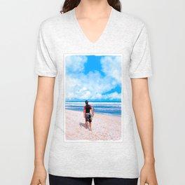 Surfer On The Beach At Playa del Carmen - Mexico Unisex V-Neck