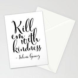 Kill Em With Kindness,Be kind Sign,Girls Room Decor,Nursery Girls,Fashion Print,Fashionista,Song Lyr Stationery Cards