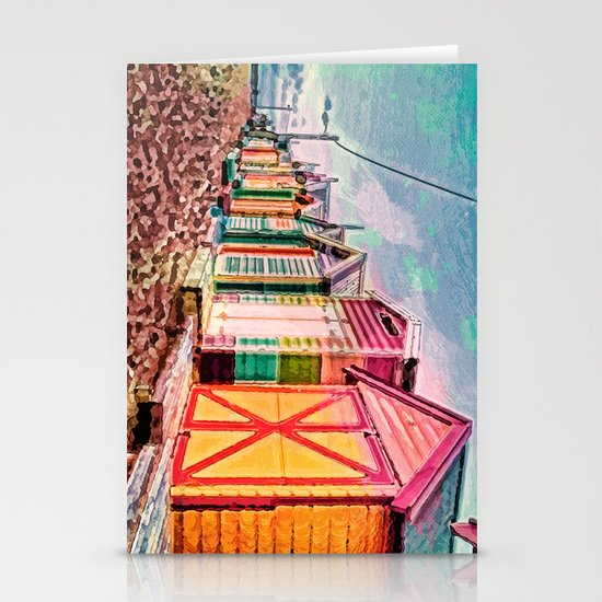 Painted Beach Huts Stationery Cards