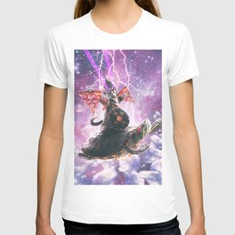 Lazer Warrior Space Cat Riding Turtle With Pizza T-shirt