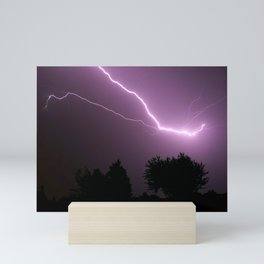 Purple Lightning Night Sky Mini Art Print