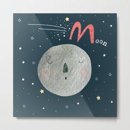 M is for Moon Metal Print