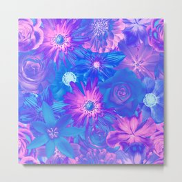 Dazzling Flowers - Red Passion Enchanted Flowers Metal Print