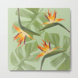 Three Paradise Flowers with Monstera Leaf Metal Print