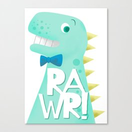 Cute Dinosaur Bow Tie Illustration | RAWR Canvas Print