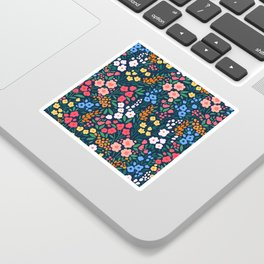 Vintage floral background. Flowers pattern with small colorful flowers on a dark blue background.  Sticker