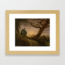Two Men Contemplating the Moon by Caspar David Friedrich Framed Art Print