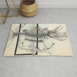 rose-Fish-bone dinosaur Rug