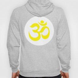 Yellow AUM / OM Reiki symbol on white background Hoody