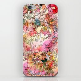 Summer Flowers | Colorful Watercolor Floral Pattern Abstract Sketch iPhone Skin