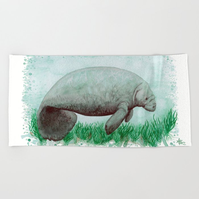 """The Manatee"" by Amber Marine ~ Watercolor Painting, (Copyright 2015) Beach Towel"