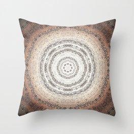 Vintage Ancient Words Mandala Throw Pillow