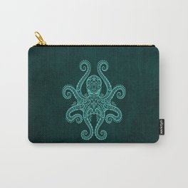 Intricate Teal Blue Octopus Carry-All Pouch
