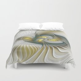 Noble And Golden, Abstract Modern Fractal Art Duvet Cover