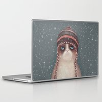 card Laptop & iPad Skins featuring Christmas Cat by Lime