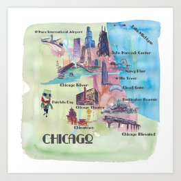 Chicago Favorite Map with touristic Top Ten Highlights in Colorful Retro Style Art Print