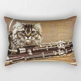 Music was my first love - cat and bassoon Rectangular Pillow