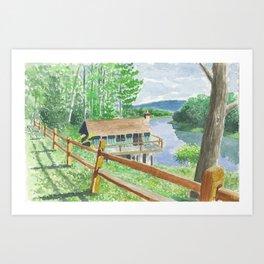 Moose Cabin Art Print