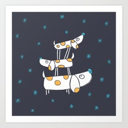 Tower of Dogs in Space Art Print