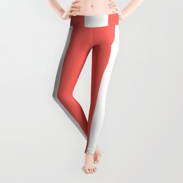Vertical Stripes - White and Pastel Red Leggings