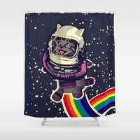 space cat Shower Curtains featuring space cat by Jimi Grey