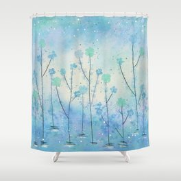 Blue Field of Flowers Shower Curtain