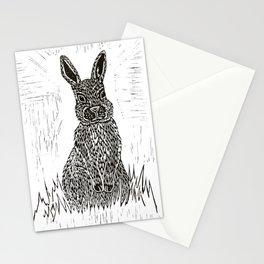 Rabbit Lino Print Stationery Cards