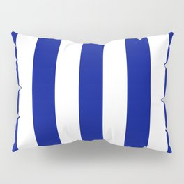 Phthalo blue - solid color - white vertical lines pattern Pillow Sham