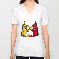 fries V-neck T-shirts featuring Fries wars by pludadesign