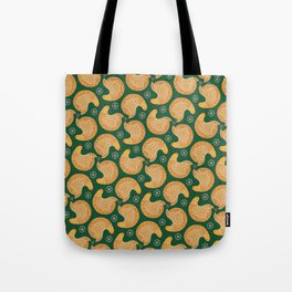 Yellow hen pattern on green Tote Bag