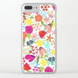 Wildflower Pattern Clear iPhone Case