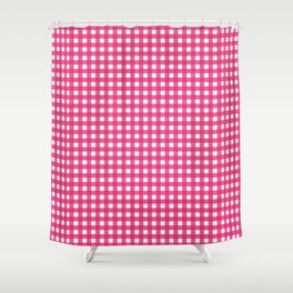 Farmhouse Gingham in Dark Pink Shower Curtain