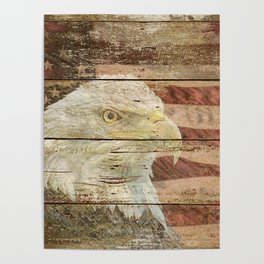 Rustic Bald Eagle Bird American Flag Patriotic Country Art A167 Poster