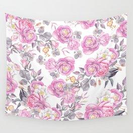 Elegant pink gray watercolor botanical roses flowers Wall Tapestry
