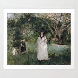 BERTHE MORISOT ,  1841 -  1895, LA CHASSE AUX PAPILLONS MADAME PONTILLON, NEE EDMA MORISOT (1839-192 Art Print