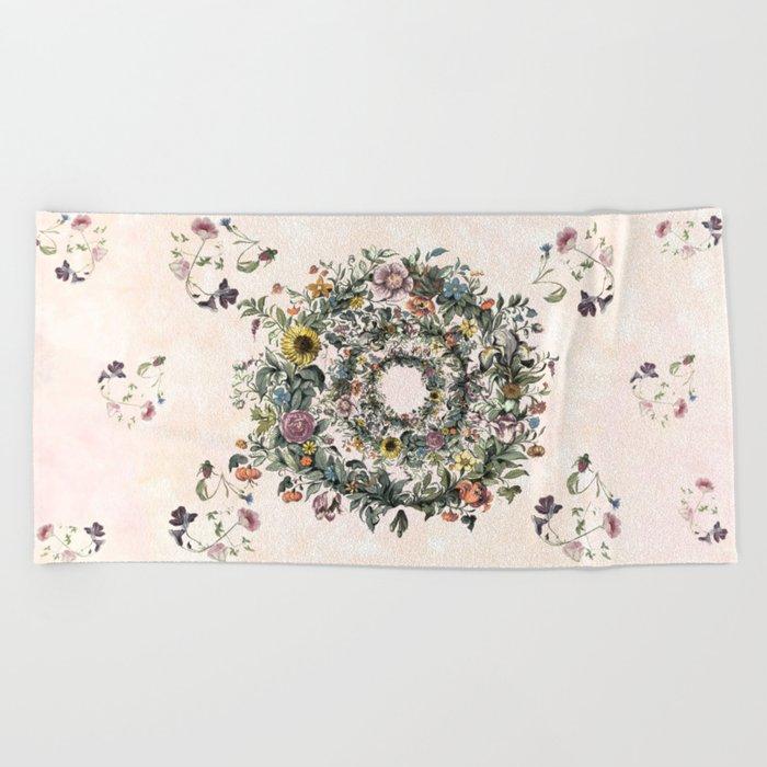 Circle of life- floral Beach Towel