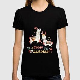 Como te Llamas. Funny Spanish Word Humor. Flowers and two Llamas T-shirt