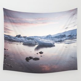 Sunset over Glacier Lagoon - Landscape and Nature Photography Wall Tapestry