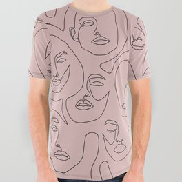 Blush Faces All Over Graphic Tee