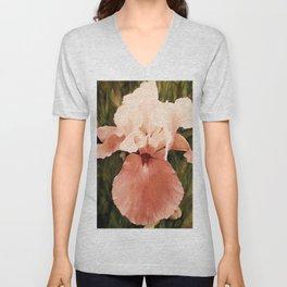 Pink White Iris Watercolor Nature Art Unisex V-Neck