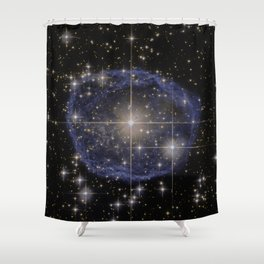 Blue Bubble Nebula Shower Curtain