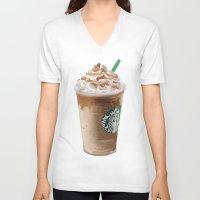 starbucks V-neck T-shirts featuring Starbucks clean by Amit Naftali