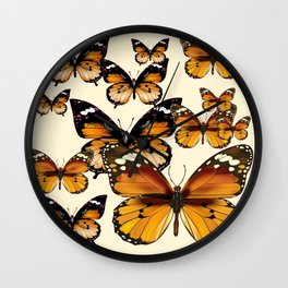 COFFEE & CREAM COLORED BROWN BUTTERFLIES Wall Clock