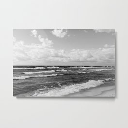Wavy Day on the Lake in Black and White Metal Print